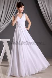 discount white chiffon v neck prom gown evening dresses informal