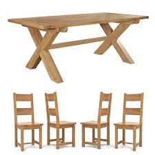 Chiltern Oak Furniture Chiltern 210cm Fixed Cross Leg Table U0026 8 Dining Chairs