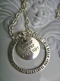 inspirational necklace never never give up inspirational necklace bronze