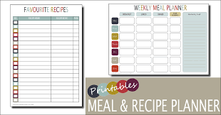 weekly meal planner template free printable family home