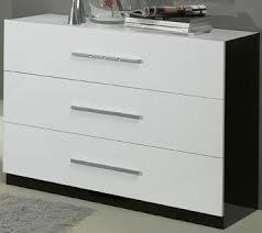 commode chambre blanc laqué glorino commode à 3 tiroirs noir et blanc laqué modiva