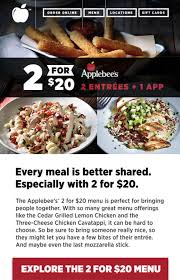 applebees coupons on phone applebee s 2 for 20 special no coupons needed save a lot
