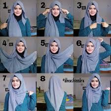 tutorial hijab pashmina untuk anak sekolah cara memakai jilbab pashmina sifon polos
