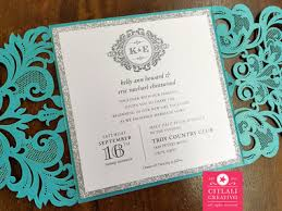 teal wedding invitations teal lasercut silver glitter monogram wedding invitations