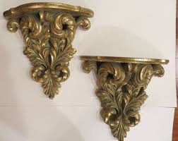 Large Sconces Wall Pair Of Large Gold Decorative Wall Sconce Shelves New