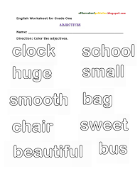 Clock Worksheets Grade 1 Worksheets For Grade 1 English Adjectives Describing Words