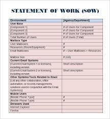 sow template 8 statement of work templates word excel pdf formats