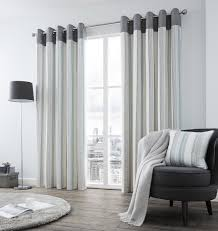 Blue Grey Curtains Vertical Stripe Teal Blue Grey Lined Ring Top Curtains 8