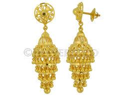 jhumki style earrings in gold welcome to jhaveris jewellery gold earrings