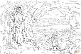 jesus tempted in the wildernes coloring page free printable
