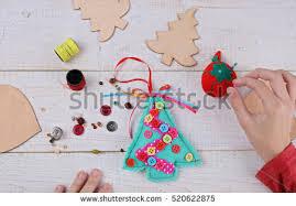 Homemade New Year Decorations by Child Making Felt Christmas Tree Decoration Stock Photo 518892592