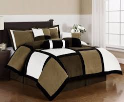 Microfiber Duvet Cover Queen Black Brown White Microsuede Patchwork 7 Piece Duvet Cover Set