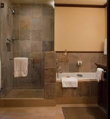 luxery doorless shower design with glass block for window