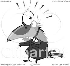 cartoon of a scared crow biting his nails royalty free vector