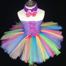 ribbon tutu rainbow color ribbon tutu dress baby fluffy 2layers tulle