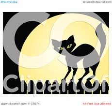 clipart black cat standing on a fence against a full moon on
