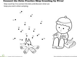 connect the dots practice skip counting by fives worksheet