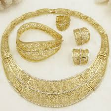 wedding gold set cz 2018 european fashion creative gold jewelry set big design