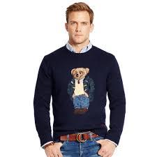 polo ralph lauren preppy polo bear sweater in blue for men lyst