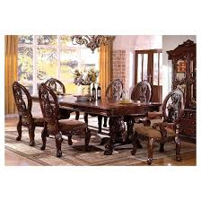 cherry dining room set sun pine 7pc carved pedestal dining table set