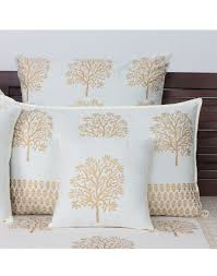 Throw Pillow Covers Online India Buy Arra Bodhi Tree Gold Cushion Cover 12x12 Inch Online Best