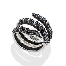 mens silver rings black diamond men s silver snake ring