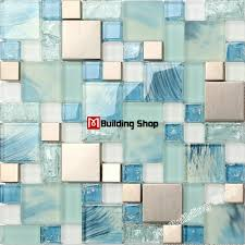 blue glass mosaic kitchen wall tile ssmt306 stainless steel metal