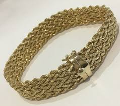 gold bracelet rope images 14k yellow gold multi strand rope bracelet fancy clasp stamped jpg