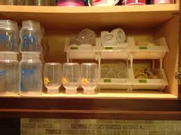 dr brown bottle organization using stacking bins from container
