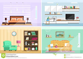 home interior flat design vector icons collection stock vector