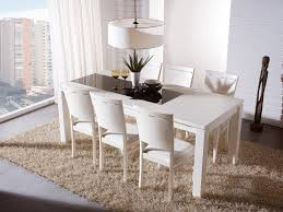 White Wooden Dining Table And Chairs Dining Room White Dining Room Set With Leather Dining Chairs With
