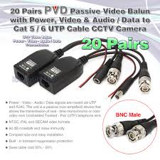 20x cctv camera via cat5 twisted pair video power audio data balun