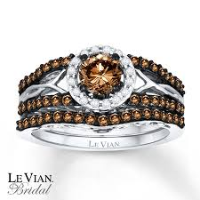 chocolate wedding ring set levian chocolate diamonds 1 ct tw bridal set 14k gold