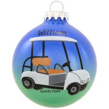 personalized golf cart glass ornament penned ornaments