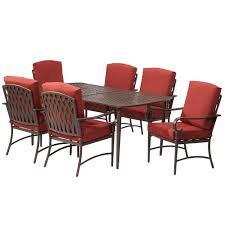 Conversing Dining Table Amazon Com Oak Cliff 7 Piece Metal Outdoor Dining Set With Chili