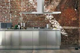 kitchen sleek metal cabinet inside kitchen with brick walls and