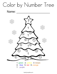 Color By Number Tree Coloring Page Twisty Noodle Hello Tree Coloring Page