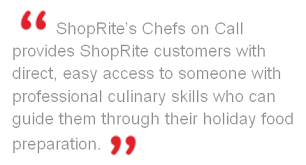 shoprite chefs are on call for thanksgiving