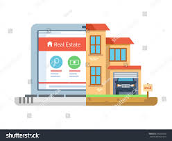 real estate laptop building house isolated stock vector 295200290