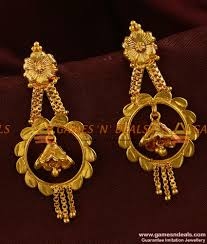 long rings jewelry images Er316 traditional long bell type gold plated ear ring imitation jpg