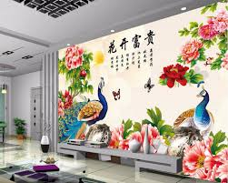 mural 3d paintings for living room promotion shop for promotional custom mural 3d wallpaper photo peony peacock flowers bloom decor painting 3d wall murals wallpaper for living room walls 3 d