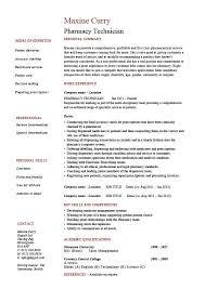 Pharmacy Intern Resume Sample Pharmacy Technician Resume Example Resume Templates