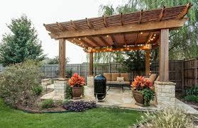 Backyard Brick Patio Design With 12 X 12 Pergola Grill Station by 50 Beautiful Pergola Ideas Design Pictures Flagstone Patio