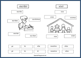 spanish verb practice for kids cut and paste pages spanish