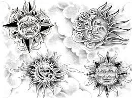 sun and moon design img24 sun moon flash tatto sets