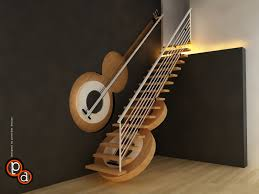 a guitar staircase the steps are the frets and the railing makes the staircase basically has a form of a guitar the niche on the wall also has a guitar form as though opening the guitar case for handrail support