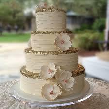 Couture Wedding Cake Magnolia Fondant Flowers Gold Trim Sweet