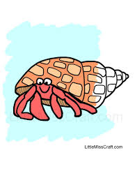crafts hermit crab coloring page