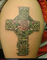 tatto design of rose tattoos celtic cross cover up design tattoomagz