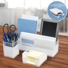sorbus acrylic desk organizers set â 3piece includes desk organizer caddy memo tray and pen cup modern desk accessories organizer great for home or office